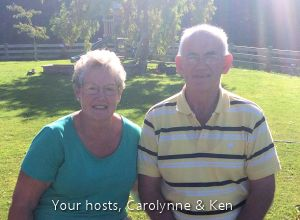 Ken and Carolynne, your hosts at Breadalbane House, Kaka Point.